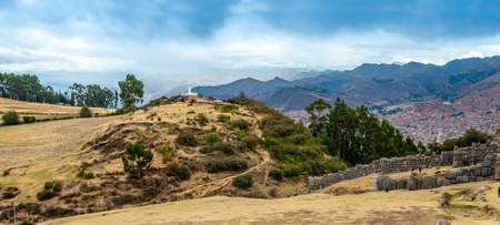 Natural lanscape of ruined castle and mountains 스톡 콘텐츠 - 124175177