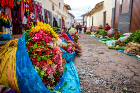 Street flower market in Peru