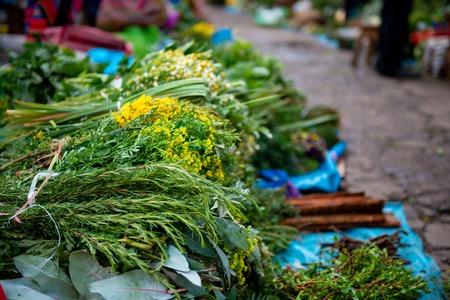 Bunch of herbs in peruvian street market