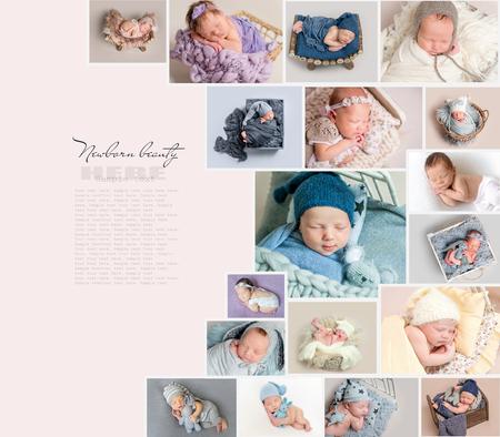 Collage of newborn babies photos