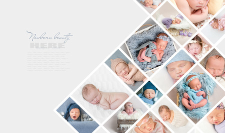 Collage of newborn babies photos