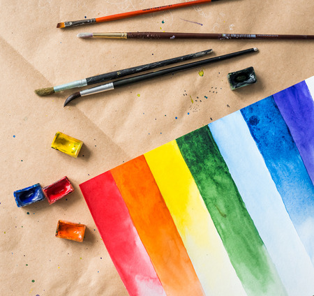 Set of watercolor brush strokes with brushes and paintboxes