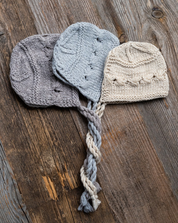 Set of tender knitted hats for newborn 스톡 콘텐츠 - 124175156