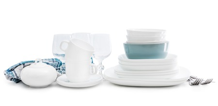 White square dinnerware set with glasses