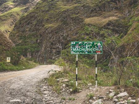 Road sign of Machupicchu Stockfoto