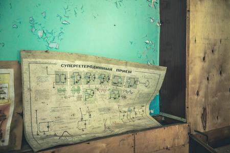debris in technical room in Pripyat