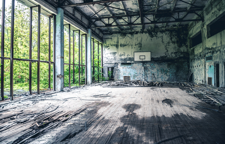 ruined gym in Sports Palace in Pripyat 写真素材