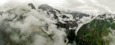 Aerial view of Machupicchu with clouds 写真素材