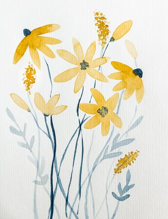 Yellow flowers drawn with watercolor