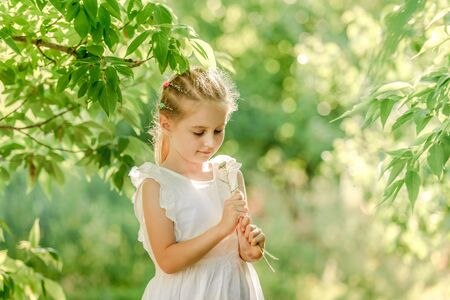 Little girl with beatiful wildflowers Reklamní fotografie