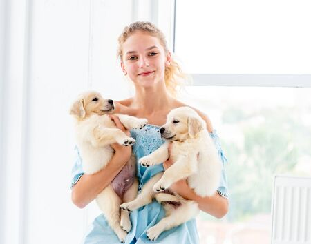 Nice girl and retriever puppies