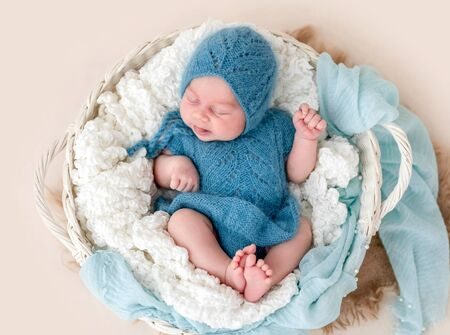 Lovely newborn with tongue out