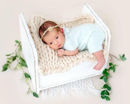 Newborn lying awake