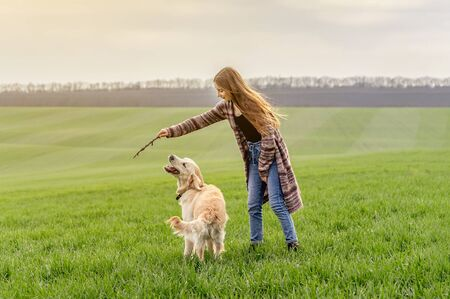 Girl playing with retriever in nature