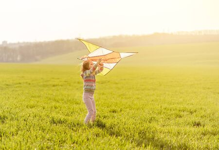 Beautiful little girl with flying kite on sunny field 免版税图像