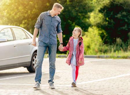 Little girl going back to school