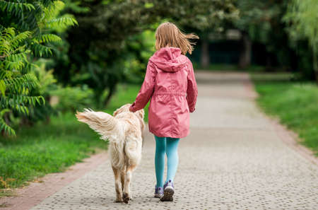 Little girl walking with dog in park 스톡 콘텐츠