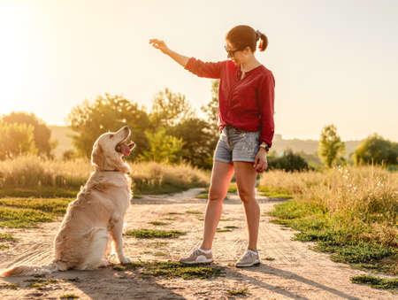 Woman training golden retriever on nature 스톡 콘텐츠