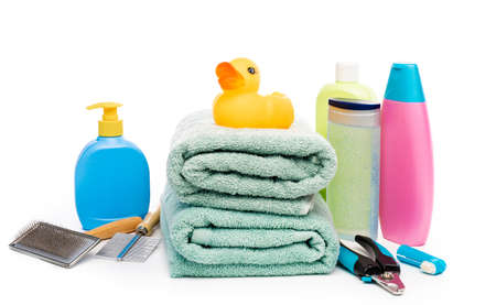 Items for bathing and grooming dog