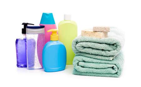 Bathing products isolated on white