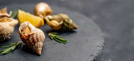 Snails with lemon on black platter