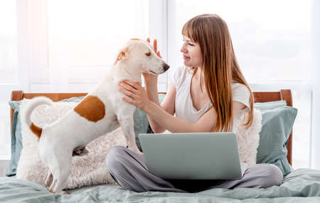 Girl with dog and laptop in the bed 스톡 콘텐츠
