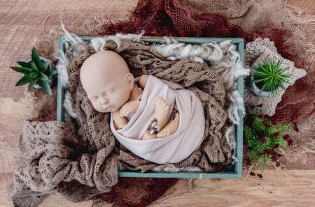 Newborn photo session mannequin 스톡 콘텐츠
