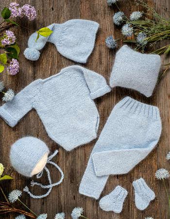Newborn clothes composition 스톡 콘텐츠