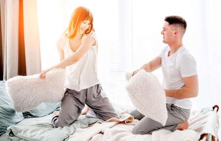 Beautiful couple in the bed Archivio Fotografico