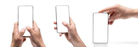 Smartphone with empty screen standing vertically