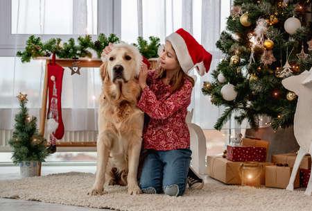 Little girl putting santa hat on dog