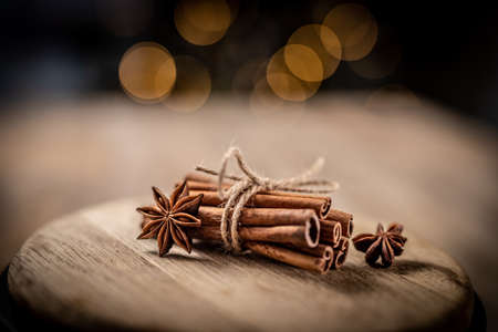 Star anise and cinnamon tied with rope
