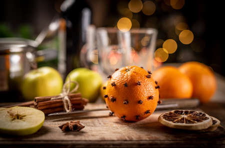 Fruits and spices for mulled wine