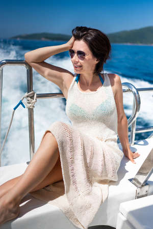 Attractive girl on yacht Banque d'images