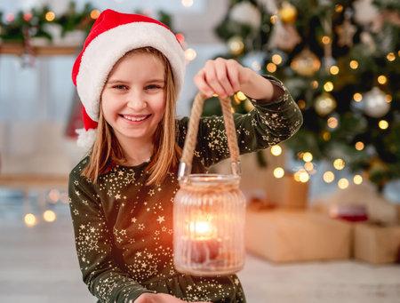 Little girl with Christmas light