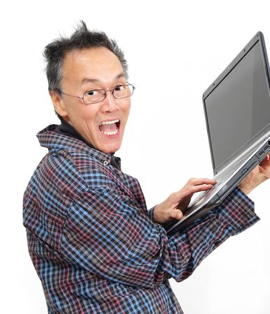 working man with business computer laptop Stock Photo