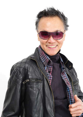 man with sunglasses and leather jacket