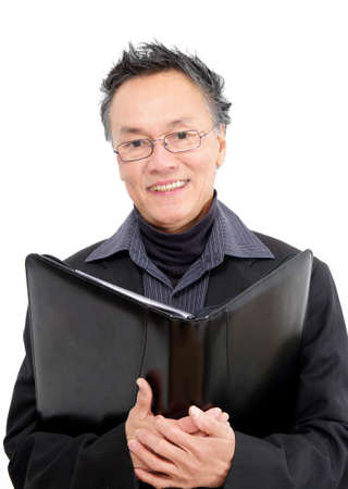 man with glasses and study folder Stock Photo