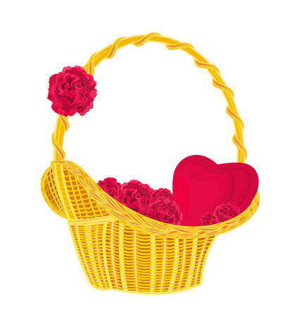 gift basket: Heart and roses in a basket romantic gift of love illustration vector