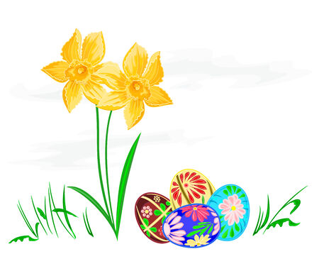 Easter egg with daffodils Vector