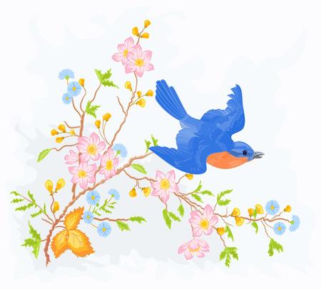 Little bird in flight in a flower bush spring illustrations and vector art