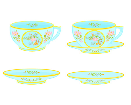 sugarbowl: Porcelain tea cup and saucer with floral pattern part tea service vector illustration