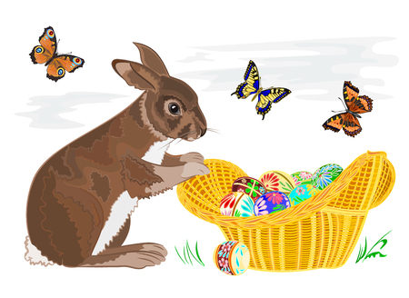 Bunny with Easter eggs in a basketand and butterflies Vector