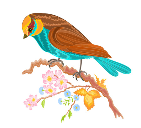 loveable: Birdie on a twig rosehip bushes vector illustration without gradients