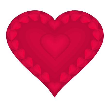 saint valentin coeur: Coeur Valentine compos�e petit coeurs rouges, illustrations vecteur EPS de 8 sans gradients Illustration