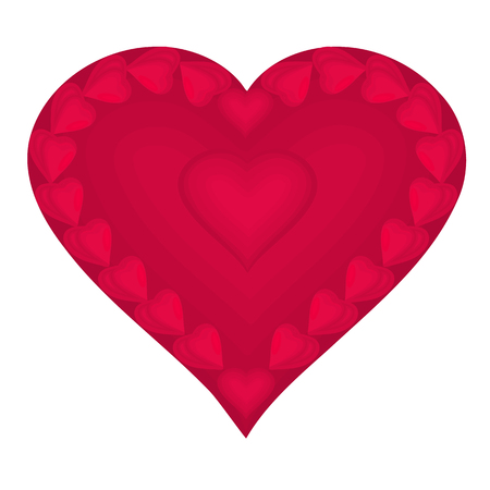 love picture: Valentine Heart composed of small red hearts illustration vector EPS 8 without gradients Illustration