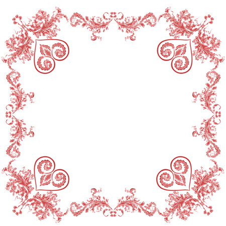 Heart ornaments decorative frame Vector