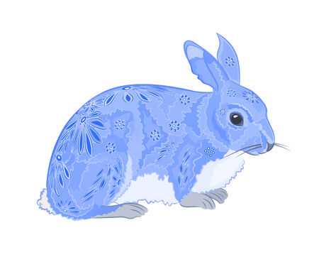 Bunny painted like Easter eggs vector illustration eps 8  without gradients  Vector