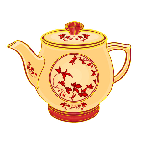 sugarbowl: Teapot part of porcelain whit red flowers vector illustration eps 8 without gradients