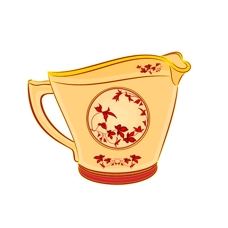sugarbowl: Milk jug part of porcelain whit red flowers vector illustration without gradients